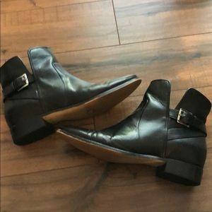 Michael Kors Black Leather Boots Silver Buckle